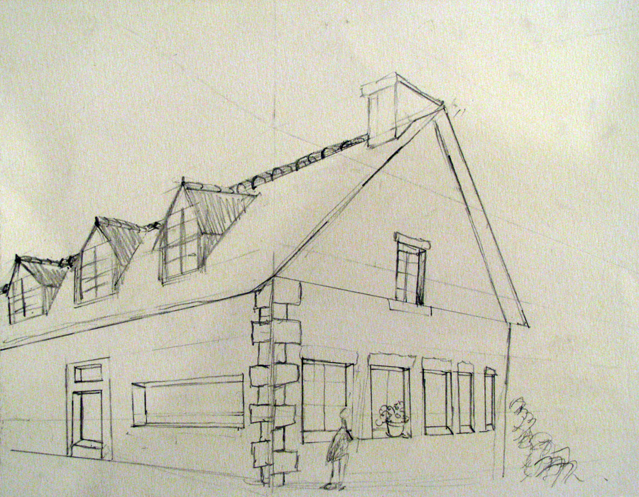Dessin Maison Perspective Point Fuite